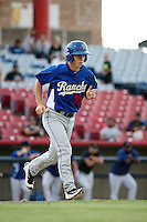 Will Smith (25) of the Rancho Cucamonga Quakes runs to first base during a game against the High Desert Mavericks at Heritage Field on August 7, 2016 in Adelanto, California. Rancho Cucamonga defeated High Desert, 10-9. (Larry Goren/Four Seam Images)