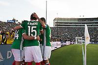 Action photo during the match Mexico vs Jamaica Corresponding to  Group -C- of the America Cup Centenary 2016 at Rose Bowl Stadium.<br /> <br /> Foto de accion durante el partido Mexico vs Jamaica, Correspondiente al Grupo -C- de la Copa America Centenario 2016 en el Estadio Rose Bowl, en la foto: Javier Hernandez celebra su gol de Mexico con Yasser Corona<br /> <br /> <br /> 09/06/2016/MEXSPORT/Jorge Martinez.