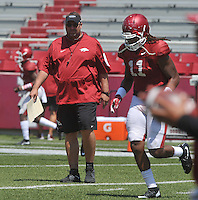 NWA Democrat-Gazette/MICHAEL WOODS &bull; @NWAMICHAELW<br /> University of Arkansas coach Bret Bielema watches his team run drills during practice Saturday, August 15, 2015 at Razorback Stadium in Fayetteville.
