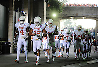 Jan 7, 2010; Pasadena, CA, USA; Members of the Texas Longhorns defense including Earl Thomas (12) heads out to the field before 2010 BCS national championship game against the Alabama Crimson Tide at the Rose Bowl.  Mandatory Credit: Mark J. Rebilas-