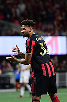 ATLANTA, GA - MARCH 07: ATLANTA, GA - MARCH 07: Atlanta United defender George Campbell encourages team mates during the match against FC Cincinnati, which Atlanta won, 2-1, in front of a crowd of 69,301 at Mercedes-Benz Stadium during a game between FC Cincinnati and Atlanta United FC at Mercedes-Benz Stadium on March 07, 2020 in Atlanta, Georgia.