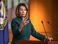 Speaker of the United States House of Representatives Nancy Pelosi (Democrat of California) conducts her weekly press conference in the US Capitol in Washington, DC on Thursday, January 10, 2019.  The Speaker took questions on Democratic legislative priorities and yesterday's meeting with US President Donald J. Trump at the White House.<br /> Credit: Ron Sachs / CNP /MediaPunch