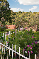 The informal cottage garden has stunning views over the Herefordshire woodland beyond its painted metal railings