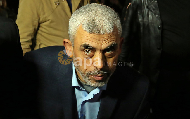 Yahya Sinwar, the new leader of Hamas in the Gaza Strip attends a memorial service of Hamas official, Mazen Faqha, who was shot dead by unknown gunmen, in Gaza city on March 27, 2017. Photo by Ashraf Amra