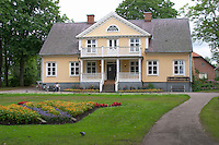 Traditional style Swedish wooden painted house. Manor house. Vetlanda, Smaland region. Sweden, Europe.