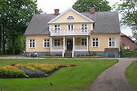 Traditional style Swedish wooden painted house. Manor house. Vetlanda, Smaland region. Sweden, Europe.