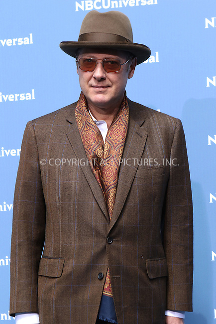 WWW.ACEPIXS.COM<br /> <br /> May 16 2016, New York City<br /> <br /> James Spader arriving at the 2016 NBC Univeral Upfront at Radio City Music Hall on May 16, 2016 in New York City.<br /> <br /> By Line: Nancy Rivera/ACE Pictures<br /> <br /> <br /> ACE Pictures, Inc.<br /> tel: 646 769 0430<br /> Email: info@acepixs.com<br /> www.acepixs.com