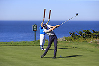 NFL Kansas City Chiefs quarterback Alex Smith tees off the 4th tee at Spyglass Hill during Thursday's Round 1 of the 2018 AT&amp;T Pebble Beach Pro-Am, held over 3 courses Pebble Beach, Spyglass Hill and Monterey, California, USA. 8th February 2018.<br /> Picture: Eoin Clarke | Golffile<br /> <br /> <br /> All photos usage must carry mandatory copyright credit (&copy; Golffile | Eoin Clarke)
