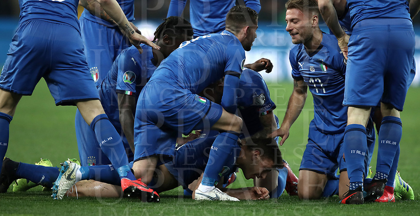 Football: Euro 2020 Group J qualifying football match Italy vs Finland at the Friuli Stadium in Udine on march  23, 2019<br /> Italy's Nicol&ograve; Barella celebrates after scoring with his teammates during the Euro 2020 qualifying football match between Italy and Finland at the Friuli Stadium in Udine, on march 23, 019<br /> UPDATE IMAGES PRESS/Isabella Bonotto