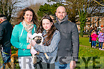 "At the St Patricks Day Dog show in aid of Recovery Haven in the Town Park on Thursday were l-r  Siobhan Foley, Ella Foley, their Dog ""Bailey"" and Leonard Foley."