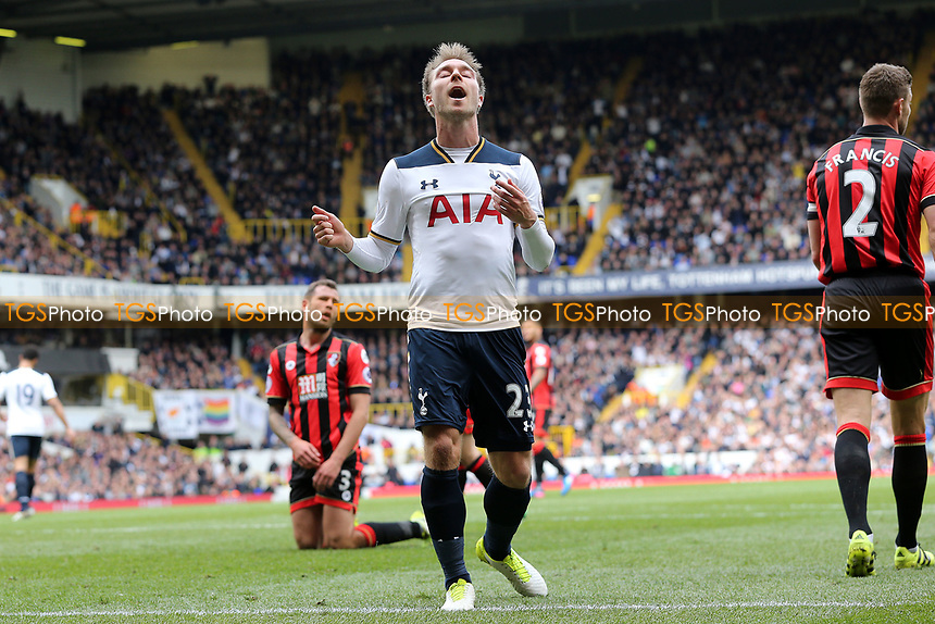 Christian Eriksen of Tottenham Hotspur rues a miss during Tottenham Hotspur vs AFC Bournemouth, Premier League Football at White Hart Lane on 15th April 2017