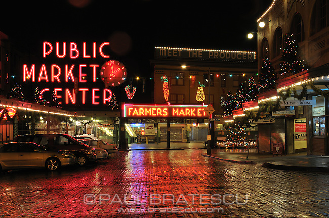 Pike Place Market, Seattle, Washington, Christmas, Holidays