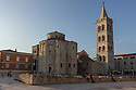 Zadar, Croatia. 26.05.2018. St Donat's and the bell tower of St Anastasia, The Forum, Zadar, Croatia. Photograph © Jane Hobson.