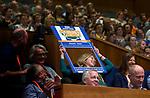 UTRECHT - Blauwe kaart,  Carolien Snieders Nationaal Hockey Congres van de KNHB,  links Joost van Geel en Helen Lejeune. COPYRIGHT KOEN SUYK