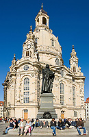 Deutschland, Freistaat Sachsen, Dresden: Frauenkirche am Neumarkt, Martin Luther Denkmal | Germany, the Free State of Saxony, Dresden: church of our lady at Neumarkt square, Martin Luther monument