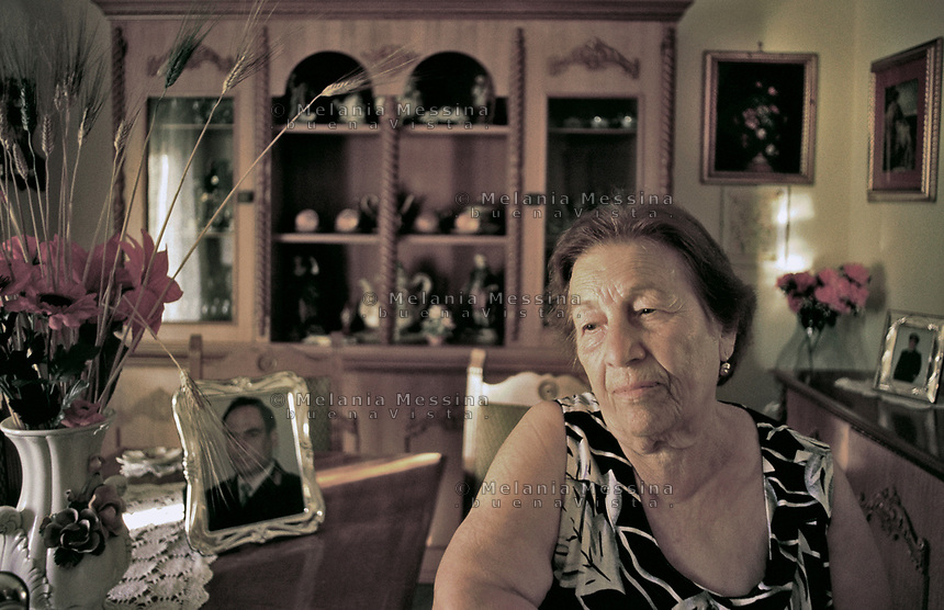 Emilia, mother of Agostino Catalano, one of the police bodyguard of the judge Paolo Borsellino, killed in the &quot;D'Amelio massacre&quot;.<br />