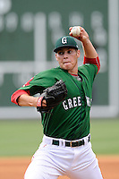 Pitcher Jake Drehoff (29) of the Greenville Drive delivers a pitch in a game against the Rome Braves on Sunday, June 14, 2015, at Fluor Field at the West End in Greenville, South Carolina. Rome won, 5-2. (Tom Priddy/Four Seam Images)