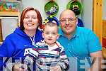 Liam Heffernan, pictured at home in Keel, Castlemaine on Monday with his parents Mary and Tony.