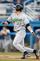 July 3, 2009:  Sequoyah Stonecipher of the Jamestown Jammers at bat during a game at Dwyer Stadium in Batavia, NY.  The Jammers are the NY-Penn League Short-Season Class-A affiliate of the Florida Marlins.  Photo by:  Mike Janes/Four Seam Images