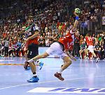 Piotr Chrapkowski; Max Darj;  beim Spiel in der Handball Bundesliga, SC Magdeburg - Bergischer HC.<br /> <br /> Foto &copy; PIX-Sportfotos *** Foto ist honorarpflichtig! *** Auf Anfrage in hoeherer Qualitaet/Aufloesung. Belegexemplar erbeten. Veroeffentlichung ausschliesslich fuer journalistisch-publizistische Zwecke. For editorial use only.