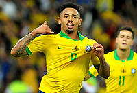 RIO DE JANEIRO – BRASIL, 7-07-2019: Gabriel Jesus de Brasil celebra después anotar un gol al Perú durante partido por la final de la Copa América Brasil 2019 entre Brasil y Perú jugado en el Maracá. / of Brazil celebrates after scoring a gaol agaisnt of Peru during the Copa America Brazil 2019  final match between Brasil and Peru played at Maracana stadium in Rio de Janeiro, Brazil. Photos: VizzorImage / Cristian Álvarez / Cont /