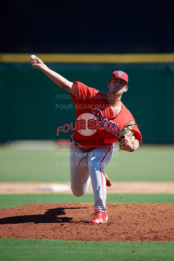 Philadelphia Phillies pitcher Blake Bennett (66) delivers a pitch during a Florida Instructional League game against the New York Yankees on October 12, 2018 at Spectrum Field in Clearwater, Florida.  (Mike Janes/Four Seam Images)