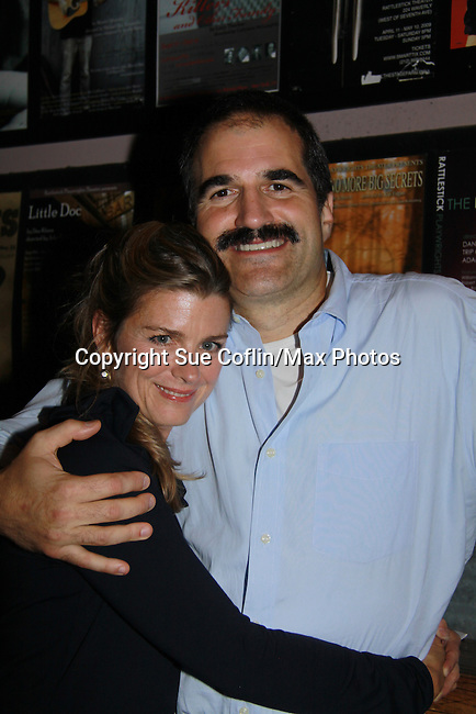 "Fiona Hutchison poses with husband One Life To Live John Viscardi stars as ""Mike McAlary"" in The Wood at the Rattlestick Playwrights Theater, New York City, New York. The photo was taken on Septermber 16, 2011 night after opening night. John as ""Mike"" in The Wood which is a ""heartfelt no-holds-barred look at ""Mike McAlary"" larger than life columnist. His missionary zeal to ferret out the truth."" (Photo by Sue Coflin/Max Photos)"