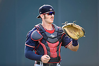 Catcher Brett Cumberland (28) of the Rome Braves warms up before a game against the Greenville Drive on Wednesday, May 31, 2017, at Fluor Field at the West End in Greenville, South Carolina. Greenville won, 7-1. (Tom Priddy/Four Seam Images)