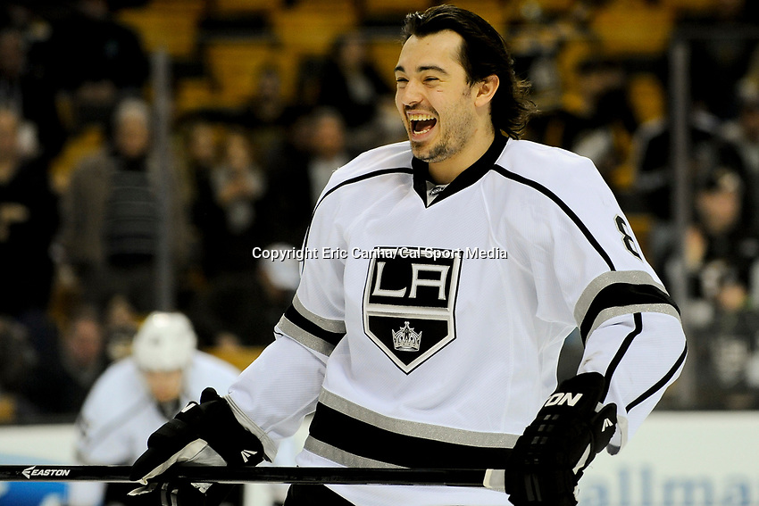 January 20, 2014 - Boston, Massachusetts, U.S. - Los Angeles Kings defenseman Drew Doughty (8) during the  pre-game warm up period before the NHL game between Los Angeles Kings and the Boston Bruins held at TD Garden in Boston Massachusetts. The Bruins defeated the Kings 3-2 in regulation time.   Eric Canha/CSM