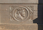 Historic carved head of King John wooden panel in Marlborough, Wiltshire, England, UK -commemorating  1204 towns first Royal charter