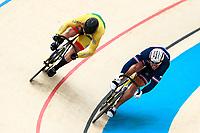 Picture by Alex Whitehead/SWpix.com - 10/12/2017 - Cycling - UCI Track Cycling World Cup Santiago - Velódromo de Peñalolén, Santiago, Chile - Lithuania's Vasilijus Lendel defeats France's Francois Pervis in the Men's Sprint quarter-finals.
