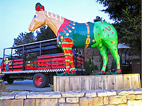 From his little felt hat to his slippers with upturned toes, Old Paint is ready to be one of Santa's elves at Lemos Farm in Half Moon Bay.