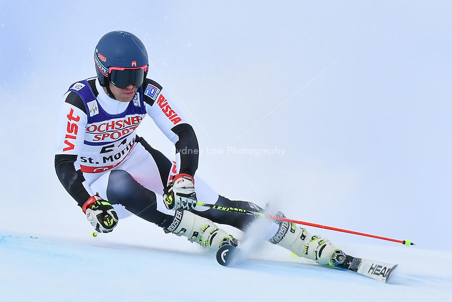 February 17, 2017: Simon EFIMOV (RUS) competing in the men's giant slalom event at the FIS Alpine World Ski Championships at St Moritz, Switzerland. Photo Sydney Low