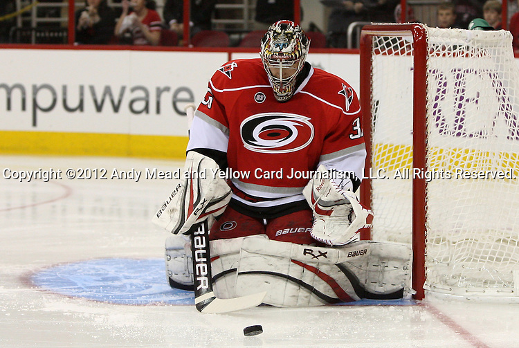 17 February 2012: Carolina's Justin Peters. The Carolina Hurricanes played the San Jose Sharks at the RBC Center in Raleigh, North Carolina in a 2011-2012 National Hockey League regular season opening game.