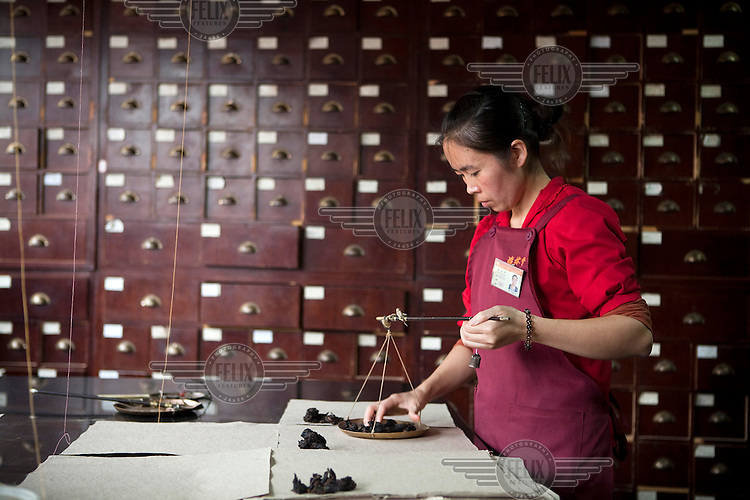 An employee in a Fu Lin Tang Traditional Chinese Medicine shop in Kunming, Southern China.