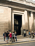 People outside entrance to Bank of England museum, City of London, London