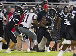 Lawndale, CA 09/29/17 - Jordan Wilmore (Lawndale #1) and Chris Arinze (Torrance #81) in action during the Torrance vs Lawndale CIF Varsity football game at Lawndale High School.   Lawndale defeated Torrance 42-0.
