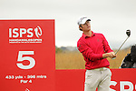 First round leader Espen Kofstad from Norway hits his tee on the 5th during the opening round of the ISPS Handa Wales Open 2013 at the Celtic Manor Resort<br /> <br /> 29.08.13<br /> <br /> ©Steve Pope-Sportingwales