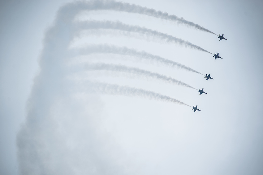"""The United States Navy Flight Demonstration Squadron """"The Blue Angels"""" flies in formation during Arctic Thunder 2016 at Joint Base Elmendorf-Richardson. Photo by James R. Evans"""
