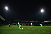 2nd December 2017, Griffen Park, Brentford, London; EFL Championship football, Brentford versus Fulham; Goalkeeper David Button of Fulham taking a goal kick with a general view of Griffen Park