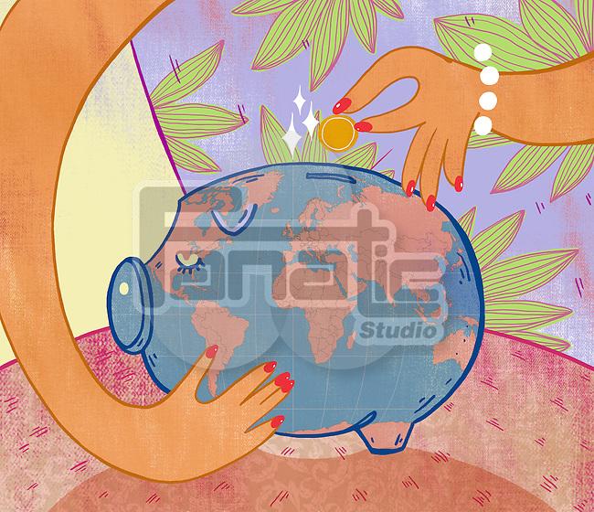 Illustrative image of woman inserting coin in piggybank representing savings