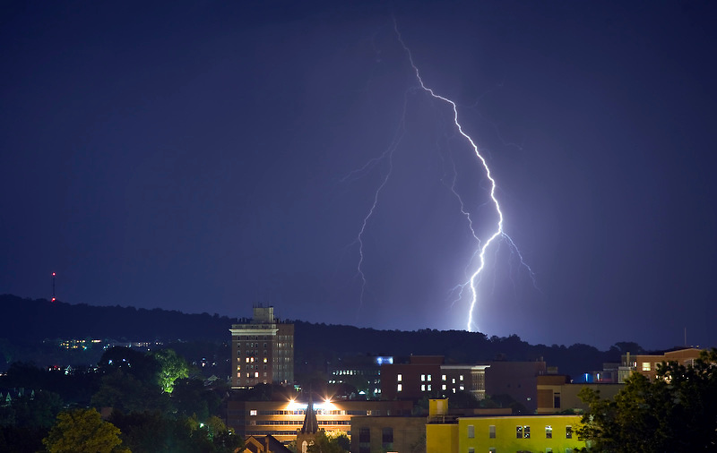 Storms with wind, rain and lightning blanketed the foothills surrounding Charlottesville, Virginia on June 2, 2009. Photo/ Andrew Shurtleff