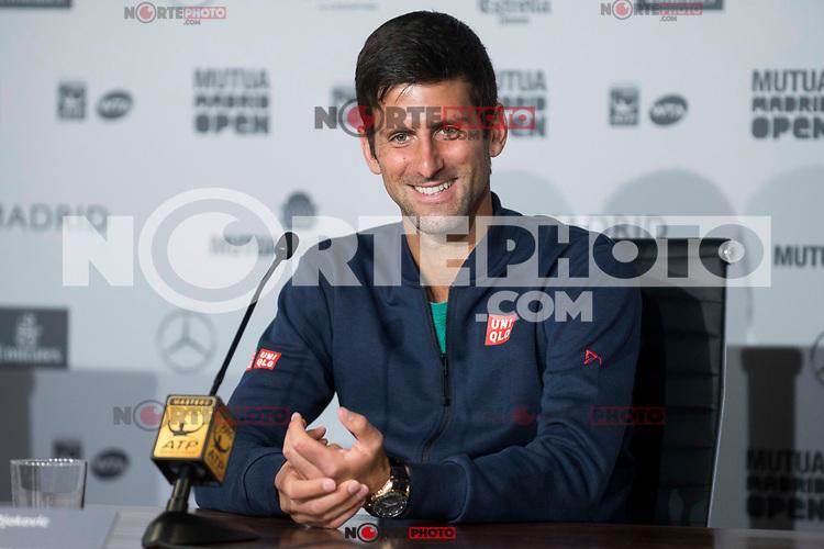 Serbian Novak Djokovic during Mutua Madrid Open Tennis 2017 at Caja Magica in Madrid, May 10, 2017. Spain.<br /> (ALTERPHOTOS/BorjaB.Hojas) /NortePhoto.com **NortePhoto.com
