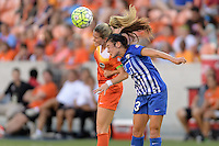 Houston, TX - Sunday Sept. 11, 2016: Kealia Ohai, Brooke Elby during a regular season National Women's Soccer League (NWSL) match between the Houston Dash and the Boston Breakers at BBVA Compass Stadium.