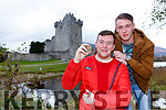 Killarney actors Conor O'Donoghue and Killian Heelan who will star in the last series of The Young Offenders in December with the stone that features in the episope
