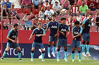 The Spurs wall jumps during Girona FC vs Tottenham Hotspur, Friendly Match Football at Estadi Montilivi on 4th August 2018