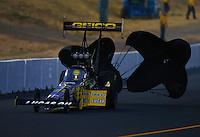 Jul. 25, 2014; Sonoma, CA, USA; NHRA top fuel driver Richie Crampton during qualifying for the Sonoma Nationals at Sonoma Raceway. Mandatory Credit: Mark J. Rebilas-