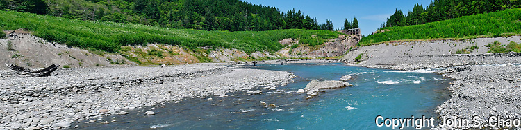 Fisheries scientists in Upper Elwha River (formerly Lake Mills), above Glines Canyon Dam artifact - panorama. Olympic National Park, Washington State.