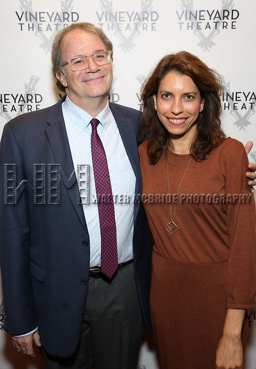 """Doug Aibel and Sarah Stern during the Opening Night Celebration for """"Good Grief"""" at the Vineyard Theatre on October 28, 2018 in New York City."""