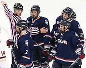 Robby Shintani, Derek Pratt (UConn - 2), Shawn Pauly (UConn - 9), David Drake (UConn - 22), Evan Richardson (UConn - 19) - The Boston College Eagles defeated the visiting University of Connecticut Huskies 3-2 on Saturday, January 24, 2015, at Kelley Rink in Conte Forum in Chestnut Hill, Massachusetts.